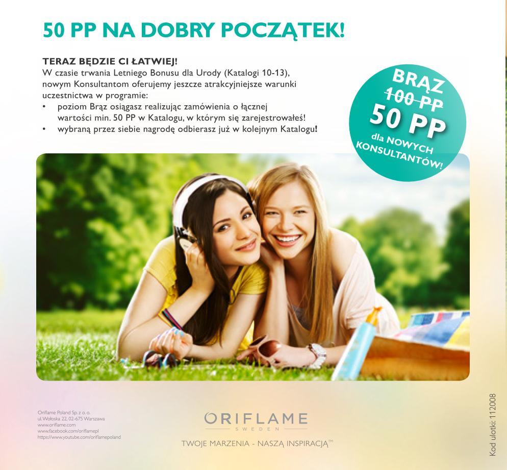 Katalog Oriflame 10 2014 Bonus dla Urody nowy konsultant