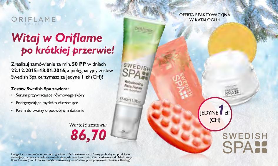 Katalog Oriflame 1 2016 oferta reaktywacyjna