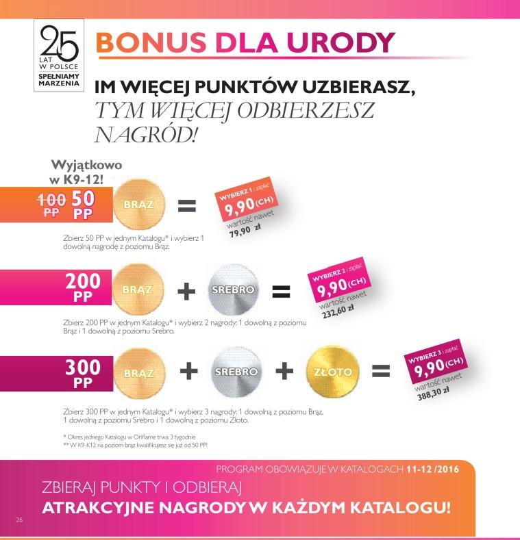 Katalog Oriflame 11 2016 bonus dla urody punktacja