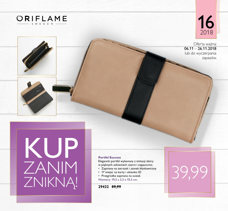 Success purse beige black by Oriflame